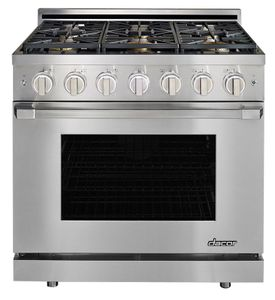 "HGPR36SNG Dacor 36"" Professional Natural Gas Self Cleaning Pro Range with Pro Handles and High Performance Dual Stacked Burners - Stainless Steel"