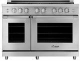 "HGPR48SLP Dacor 48"" Heritage Collection Liquid Propane Gas Self Cleaning Pro Range with Pro Handles and High Performance Dual Stacked Burners - Stainless Steel"