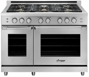 "HGPR48SLP Dacor 48"" Professional Liquid Propane Gas Self Cleaning Pro Range with Pro Handles and High Performance Dual Stacked Burners - Stainless Steel"