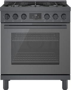 """HGS8045UC Bosch 30"""" 800 Series Industrial Style Free Standing Gas Range - Black Stainless Steel"""