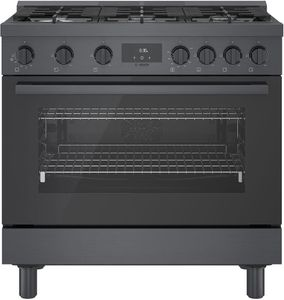 """HGS8645UC Bosch 36"""" 800 Series Industrial Style Free Standing Gas Range - Black Stainless Steel"""