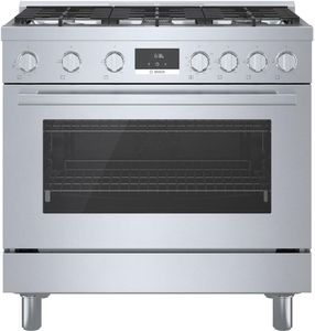 """HGS8655UC Bosch 36"""" 800 Series Industrial Style Free Standing Gas Range - Stainless Steel"""