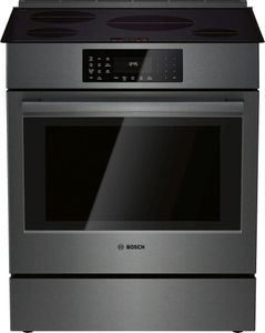 """HII8046U Bosch 30"""" 800 Series 4 Element Induction Slide-in Range with PreciseSelect and 11 Specialized Cooking Modes - Black Stainless Steel"""