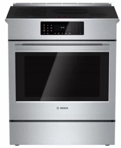 """HIIP055U Bosch 30"""" Benchmark Series Induction Slide-in Range with Touch Controls and Genuine European Convection - Stainless Steel"""