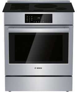 """HIIP056U Bosch 30"""" Benchmark Series Induction Slide-in Range with Touch Controls and Genuine European Convection - Stainless Steel"""