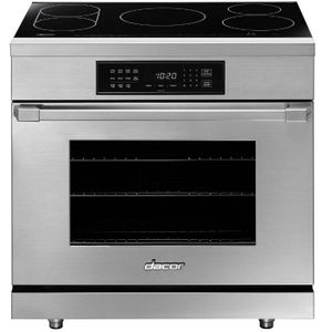 """HIPR36S Dacor 36"""" Heritage Collection Induction Pro Range with LED TiltVue Glass Touch Controls and Pro Style Bullnose Handle - Stainless Steel"""