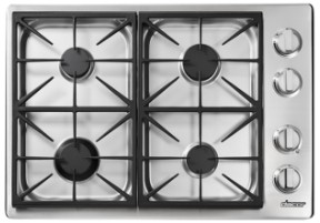"""HPCT304GSLP Dacor 30"""" Heritage Collection 4 Burner Liquid Propane Gas Cooktop with PermaClean Bead Blasted Finish and Illumina Burner Controls - Stainless Steel"""