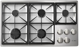 """HPCT365GSLP Dacor 36"""" Heritage Collection 5 Burner Liquid Propane Gas Cooktop with PermaClean Bead Blasted Finish and Illumina Burner Controls - Stainless Steel"""
