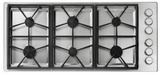 """HPCT466GSLP Dacor 46"""" Heritage Collection Pro Style 6 Burner Liquid Propane Gas Cooktop with PermaClean Bead Blasted Finish and Illumina Burner Controls - Stainless Steel"""