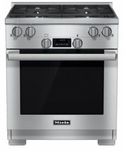 "HR1724DFG Miele 30"" Natural Gas Dual Fuel Range with Direct Select Controls and Rapid PreHeat - Stainless Steel"