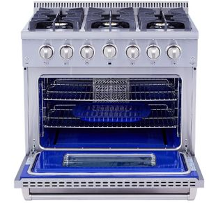"""HRD3606U Thor Kitchen 36"""" Professional Dual Fuel Range with 6 Sealed Burners - Stainless Steel"""