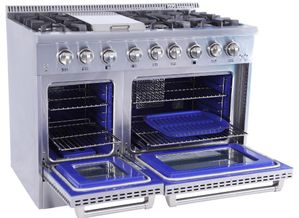 """HRD4803U Thor Kitchen 48"""" Professional Double Oven Dual Fuel Range with 6 Sealed Burners and Griddle - Stainless Steel"""