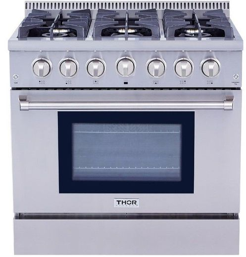 """HRG3618U Thor Kitchen 36"""" Professional Gas Range with 6 Sealed Burners - Stainless Steel"""