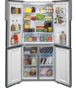 "HRQ16N3BGS Haier 33"" 16.4 Cu. Ft. Quad Door Bottom Mount Counter Depth Refrigerator with Sabbath Mode and Led Lighting - Stainless Steel"
