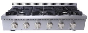"HRT3618U Thor Kitchen 36"" Professional Gas Rangetop with 6 Sealed Burners - Stainless Steel"