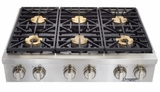 "HRTP366SLP Dacor 36"" Heritage Collection 6 Burner Liquid Propane Gas Rangetop with Illumina Burner Controls and SimmerSear Burners - Stainless Steel"