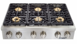 """HRTP366SNG Dacor 36"""" Heritage Collection 6 Burner Natural Gas Rangetop with Illumina Burner Controls and SimmerSear Burners - Stainless Steel"""