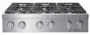 """HRTP486SNG Dacor 48"""" Professional 6 Burner Natural Gas Rangetop with Illumina Burner Controls and SimmerSear Burners - Stainless Steel"""