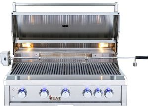 "HTGR405NG Heat 40"" Outdoor Grill with Infrared Burner and Push N' Turn Flame Thrower Control Knobs - Stainless Steel - Natural Gas"