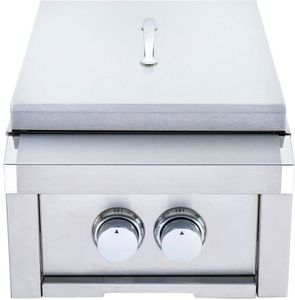 """HTPB1NG Heat 12"""" Power Burner with 34,000 BTU and Stainless Steel Lid - Stainless Steel - Natural Gas"""