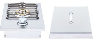 """HTSB1NG Heat 12"""" Side Burner with 12,000 BTU and Stainless Steel Lid - Stainless Steel - Natural Gas"""