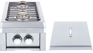"""HTSB2NG Heat 12"""" Double Side Burner with 24,000 BTU and Stainless Steel Lid - Stainless Steel - Natural Gas"""