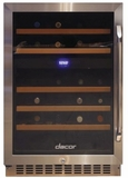 "HWC242L Dacor 24"" Heritage Collection Dual Zone Left Hinge Wine Cellar with EasyGlide Racks and Dynamicclimate Mode  - Stainless Steel"
