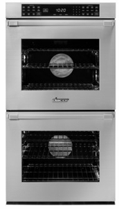 """HWO227PS Dacor 27"""" Heritage Collection Pro Style Handle Electric Double Wall Oven with GreenClean Steam Cleaning Technology and SoftShut Hinges - Silver Stainless Steel"""