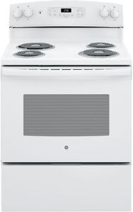 "JB256DMWW GE 30"" Freestanding Electric Range with SensiTemp Technology and SelfClean Over - White"
