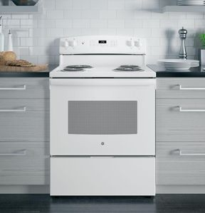 """JB256DMWW GE 30"""" Freestanding Electric Range with SensiTemp Technology and SelfClean Over - White"""