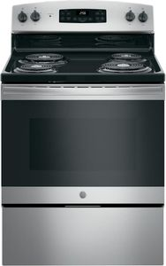"""JB256RMSS GE 30"""" Freestanding Electric Range with SensiTemp Technology and SelfClean Over - Stainless Steel"""