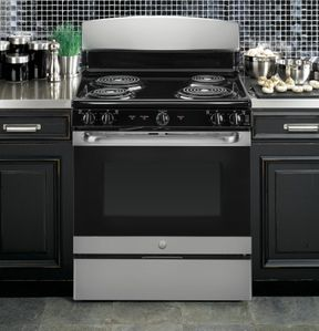"""JB450RKSS GE 30"""" Freestanding Electric Range with Upfront Controls - Stainless Steel"""