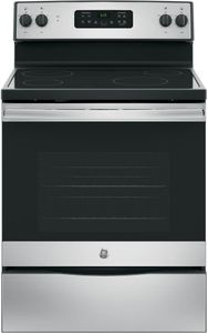 """JB625RKSS GE 30""""  Free Standing Electric Range with 4 Smoothtop Elements and Dual 4-Pass Heating Elements - Stainless Steel"""