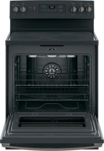"JB655FKDS GE 30"" Freestanding Electric Convection Range with Fifth Element Warming Zone and Self Clean Oven - Black Slate"
