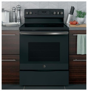 """JB655FKDS GE 30"""" Freestanding Electric Convection Range with Fifth Element Warming Zone and Self Clean Oven - Black Slate"""