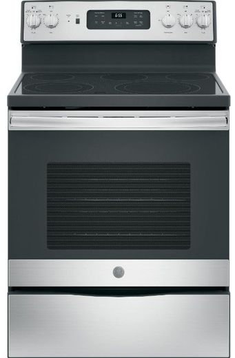"""JB655YKFS GE 30"""" Freestanding Electric Convection Range with Fifth Element Warming Zone and Self Clean Oven - Fingerprint Resistant Stainless Steel"""