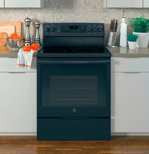 """JB750DJBB GE 30"""" Free-Standing Electric Convection Range with Precise Air - Black"""