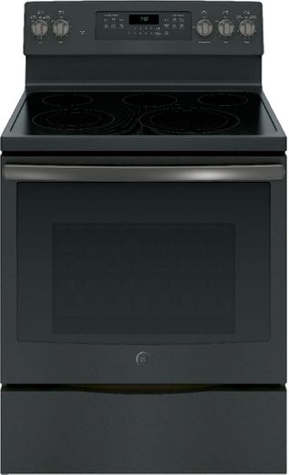 """JB750FJDS GE 30"""" Free-Standing Electric Convection Range with Precise Air - Black Slate"""