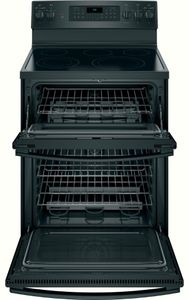 """JB860DJBB GE 30"""" Free-Standing Electric Double Oven True European Convection Range with Self Clean Oven and Fifth Element Warming Zone - Black"""