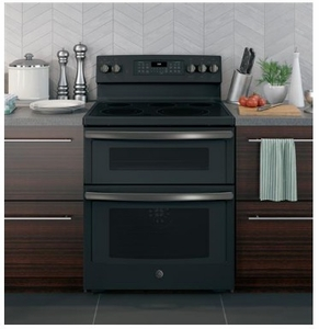"JB860FJDS GE 30"" Free-Standing Electric Double Oven True European Convection Range with Self Clean Oven and Fifth Element Warming Zone - Black Slate"