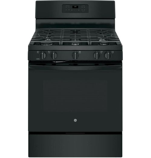"JGB660DEJBB GE 30"" Free-Standing Gas Range with Edge-to-edge Cooktop and Precise Simmer Burner - Black"