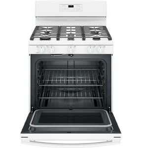 """JGB660DEJWW GE 30"""" Free-Standing Gas Range with Edge-to-edge Cooktop and Precise Simmer Burner - White"""