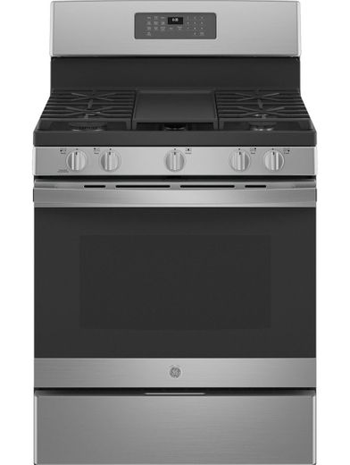 "JGB660YPFS GE 30"" Freestanding Gas Range with PowerBoil Burner - Fingerprint Resistant Stainless Steel"