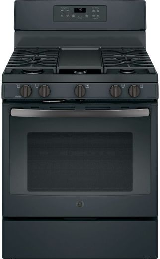 "JGB700FEJDS GE 30"" Freestanding Gas Range with Extra-Large Integrated Non-Stick Griddle and Self-Clean with Steam Clean Option - Black Slate"