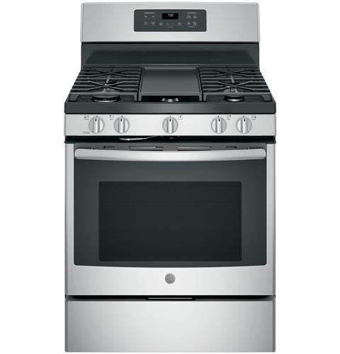 """JGB700YPFS GE 30"""" Free-Standing Gas Convection Range with Edge-to-edge Cooktop - Anti-Fingerprint Stainless Steel"""