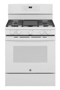"""JGB735DPWW GE 30"""" Freestanding Gas Convection Range with Air Fry - White"""