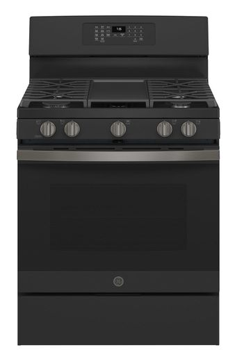 "JGB735FPDS GE 30"" Freestanding Gas Convection Range with Air Fry - Black Slate"