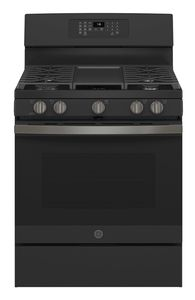 """JGB735FPDS GE 30"""" Freestanding Gas Convection Range with Air Fry - Black Slate"""