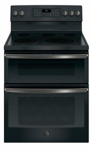 """JGB860FEJDS GE 30"""" Free-Standing Gas Double Oven Range with Edge To Edge Cooktop and Self Clean Oven - Black Slate"""