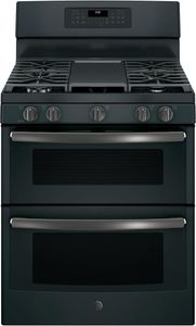 "JGB860FEJDS GE 30"" Free-Standing Gas Double Oven Range with Edge To Edge Cooktop and Self Clean Oven - Black Slate"